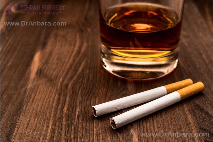تصویر سیگار و نوشیدنی الکلی